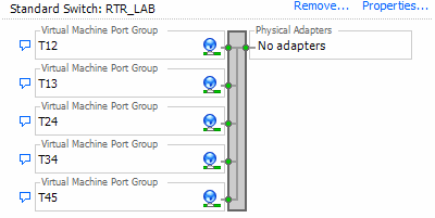 vSwitch RTR_LAB with 5 portgroups