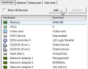 vSphere Client: Add Hardware